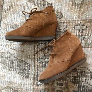Sonoma Cognac Suede Wedge Ankle Boot Booties
